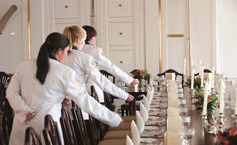 waitresses in state dining room royal yacht britannia