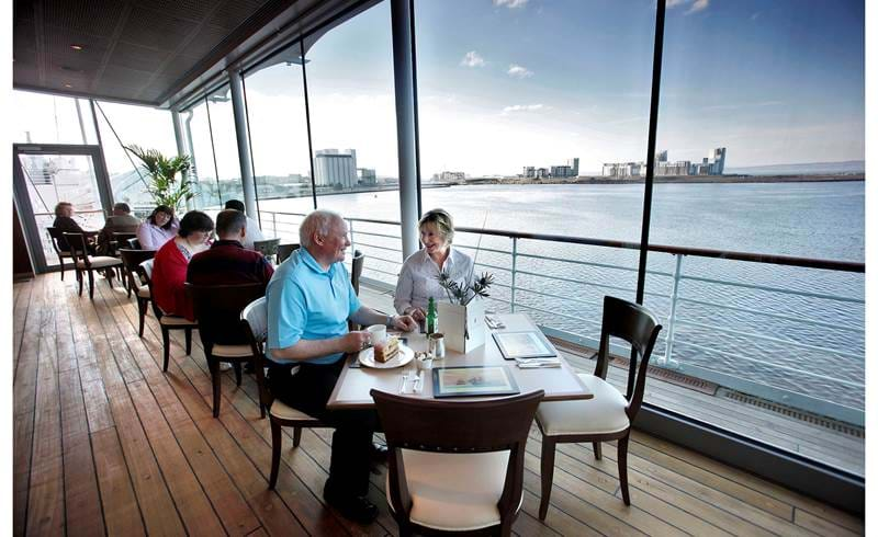 royal deck tea room with customers royal yacht britannia