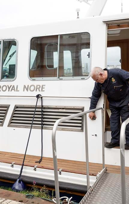 Exiting Royal Nore, after completion of maintenance checks.