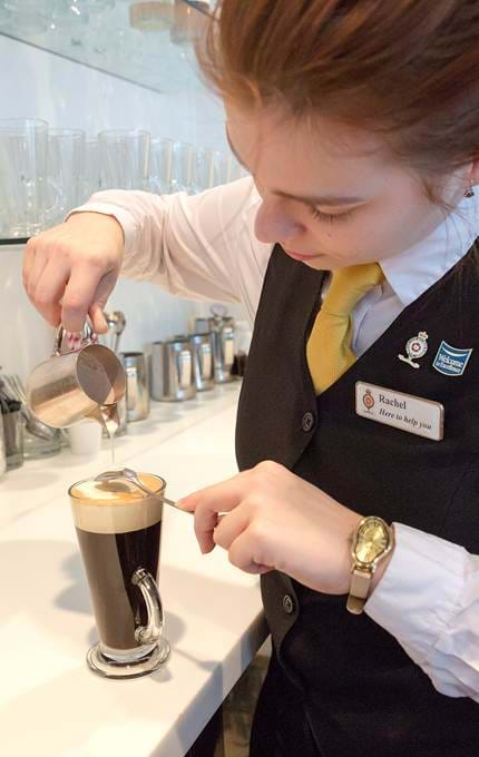 staff making gourmet coffee royal yacht britannia