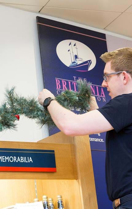 christmas decorations set up royal yacht britannia