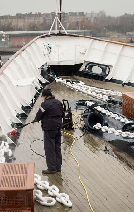 deckside hose down royal yacht britannia