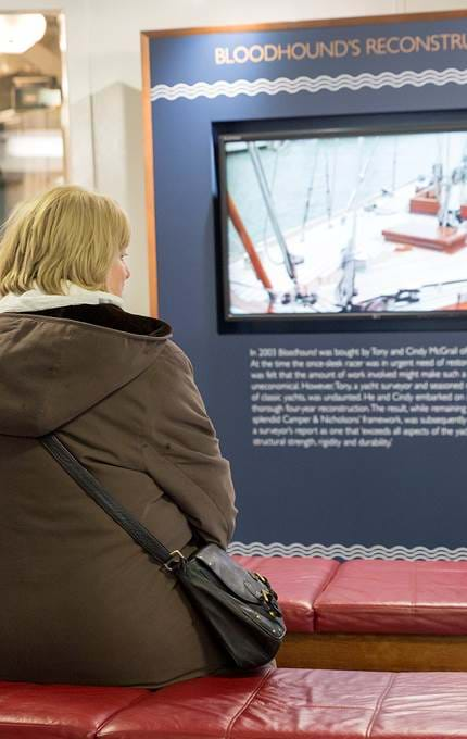 guests watching mini film royal yacht britannia
