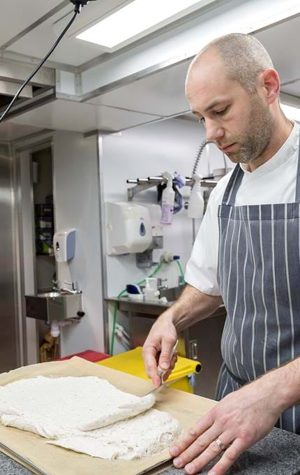 chef in kitchen royal yacht britannia