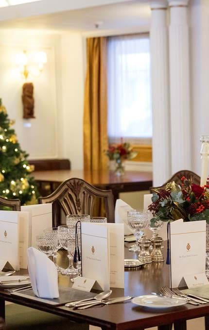 State Dining Room at Christmas royal yacht britannia