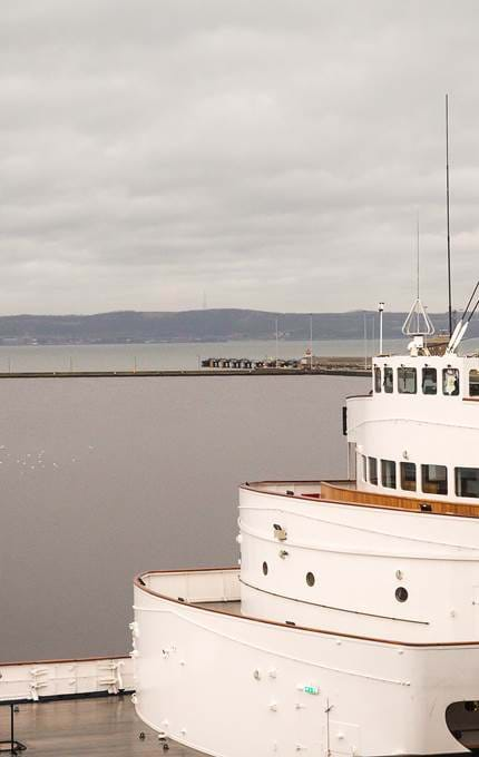 photo looking over to fife royal yacht britannia