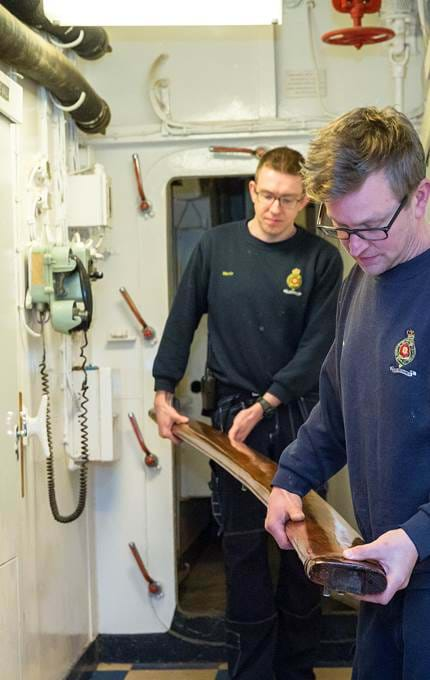 carrying wood piece maintenance royal yacht britannia