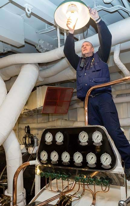 lightbulb changing in engine room maintenance royal yacht britannia