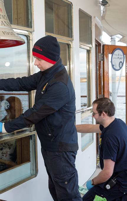 window cleaning on deck royal yacht britannia