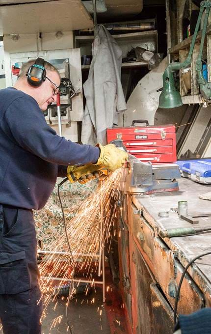 workshop angle grinding royal yacht britannia