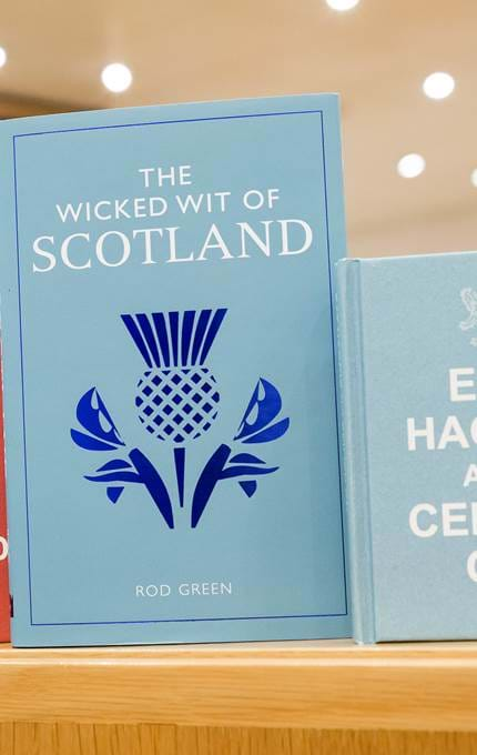 Notebooks with scottish phrase covers.
