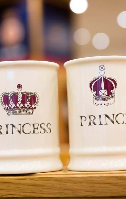 'Prince' and 'Princess' mugs.