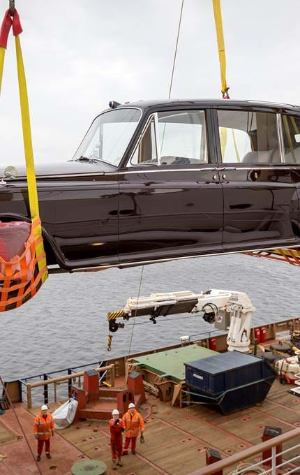 The Rolls Royce is lifted by Northern Lighthouse Board vessel, Pharos.