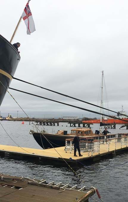 Bloodhound boat gets moved to make room for Northern Lighthouse Board vessel.