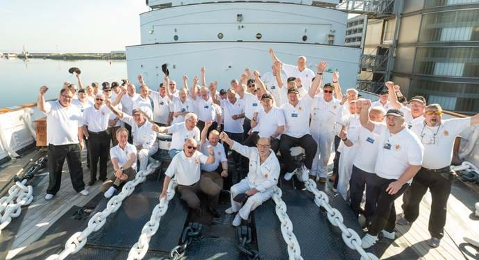 The Royal Yachtsmen pose on the Fo'c's'l'e Deck
