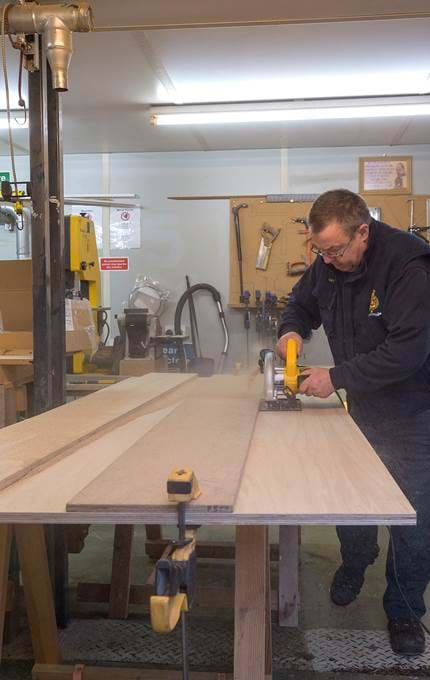 Cutting plywood for Fingal cupboard.