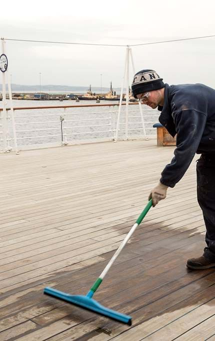 Removing excess water from Deck