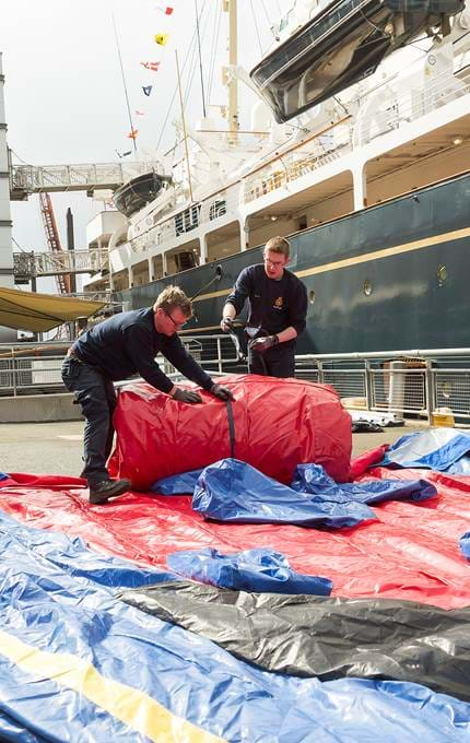packing up inflatable bouncy Britannia.