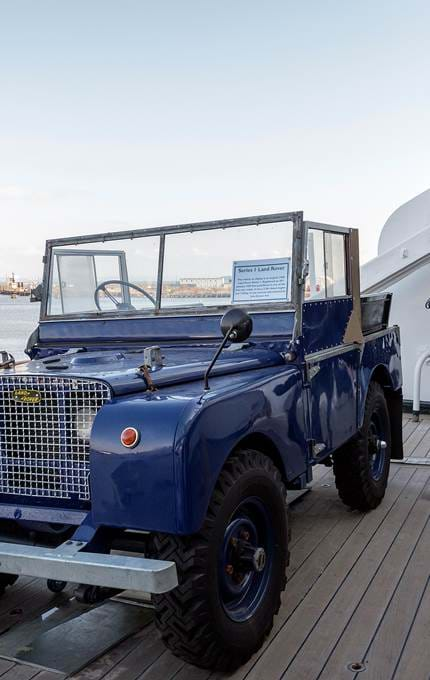 The Series 1 1950s Land Rover aboard The Britannia