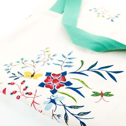 Embroidered apron.